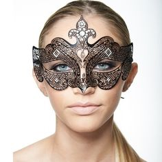 Black Laser Cut Mask with Clear Rhinestones -Made with eco-friendly metal material. -Laser Cut -Beautiful Rhinestones design.  -One size fits most. -Perfect for masquerade balls, weddings, proms, parties, dances, music festivals, raves, Mardi Gras, etc. Accessories