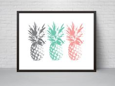 Pineapple Wall Art Print Teal Mint Pink Grey by EVEprints on Etsy
