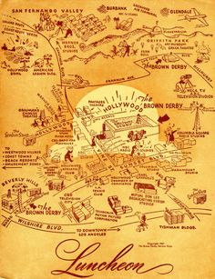 The World, According to the Brown Derby / the luncheon menu from 1953. via Bon Appétit. #menu #print