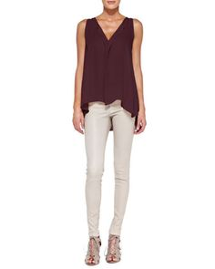 Avon Draped Sleeveless Silk Blouse & Front-Zip Leather Leggings by Alice + Olivia at Neiman Marcus.