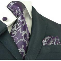 Purple and Grey Floral Necktie Set - Toramon Necktie Company Wedding Ties, Wedding Stuff, Dream Wedding, Plum Wedding, Wedding Colors, Wedding Decor, Mens Silk Ties, Men Ties, Mens Attire