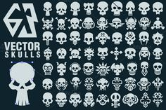 63 Vector Skulls Collection by pixaroma on @creativemarket