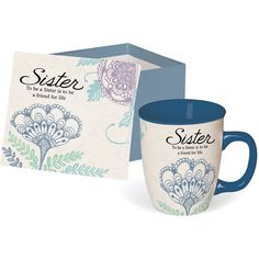 """That Special Someone """"Sister"""" Gift Boxed Mug.  Fresh colors and soothing designs adorn this collection with heartfelt and inspirational sayings. Each ceramic mug is individually packaged in it's own decorative box. 14 oz.  http://www.giftamillion.com/that-special-someone-sister-gift-boxed-mug.html  #GiftsForSister #Gifts #Mug #GiftIdeas #Giftamillion"""