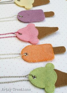Ice Cream Cone & Popsicle Necklaces. Easy hand sewing project