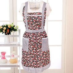 1Pc Sleeveless Checked Floral Rose Polka Dot Women Lady Apron With Pocket For Kitchen Cooking. Click visit to buy #Apron