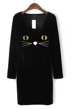The slim dress featuring #cat embroidered. Scoop neck. Long sleeve.