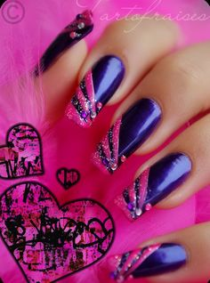 Nail art designs by Tartofraises... love pink, and purple together and Bling..might have to get this one done :)