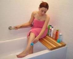 Cedar Bathtub Bench. Why did I not think of this? Seriously this is genius!