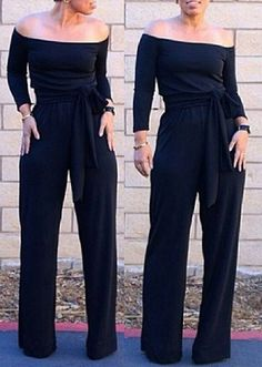 Sexy Off-The-Shoulder Long Sleeve Solid Color Wide Leg Jumpsuit For Women