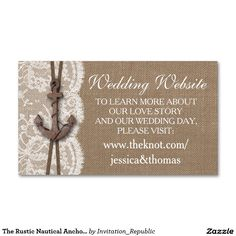 The Rustic Nautical Anchor Wedding Collection Double-Sided Standard Business Cards (Pack Of 100)