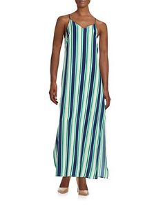 Design Lab Lord & Taylor Striped Maxi Women's Navy/Green X-Small