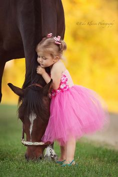Little girl and horse love