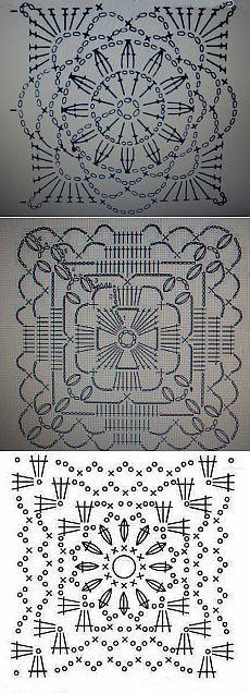 Квадратные мотивы для вязания крючком   Уют и тепло моего дома