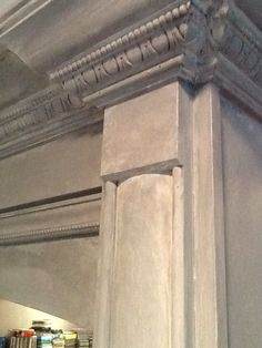 Faux zinc on built in cabinetry