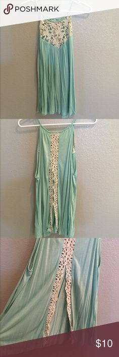 Urban Outfitters Lace Tank Mint green tank from urban outfitters with lace neckline and lace detailing on the back. Backside features a split opening. Never worn and in perfect condition! Urban Outfitters Tops