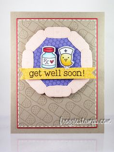 Copic card using the Lawn Fawn - Get Well Soon stamp set along with the matching die set. Made by Kelli