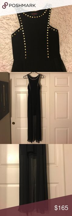 HI-LOW DRESS! Black with gold stud details Beautiful hi-low dress. Never worn. Perfect for a night out on the town or dress it down and grunge it up! LF Dresses High Low