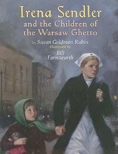 Irena Sendler and the Children of the Warsaw Ghetto by Susan Goldman Rubin.  Irena Sendler was a tiny Polish social worker who helped spirit more than 400 children out of the Warsaw Ghetto during World War II. Using toolboxes, ambulances, and other ingenious measures, Sendler defied the Nazis and risked her own life by saving and then hiding Jewish children. Her secret list of the children's real identities was kept safe, buried in 2 jars under a tree in war-torn Warsaw.