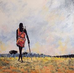 ARTFINDER: Beautiful Africa by Violeta Oprea - Beautiful painting of an African Masai warrior wandering into the longness of sahara desert. This painting is dedicated to the greatness and oneness of Afri...