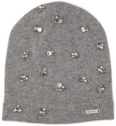 Jimmy Choo Eva Pearl Grey Blend Cashmere Knitted Beanie with Crystals Cashmere  Wool f621eede5162