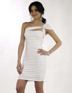 One-shoulder Sheath/Column White Chiffon Cocktail Dress/Homecoming Dress