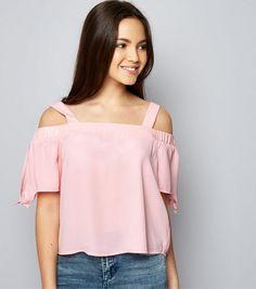 Teens Pink Tie Sleeve Cold Shoulder Top    New Look