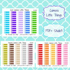 Multicolor Camera Little Things! | Free Printable Planner Stickers from plannerproblem.wordpress.com! Available in cool, neutral, and warm colors with a customization option. Download for free at https://plannerproblem.wordpress.com/2016/06/27/camera-little-things-free-printable-planner-stickers/ and let me know what you'd like to see next!