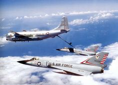 F-106A 59-0004 and F-106B 57-2541 of ADWC Tyndall AFB FL during an In-flight Refuel from a Boeing KC-97 Stratofreighter Photo is somewhere between 1968, when this aircraft 59-0004 began flying with ADWC, and 1977 when it left ADWC. The KC-97 was completely retired in 1978. USAF Photo