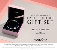 """Mother's Day is almost here - and there is still time to get the """"Tree of Hearts"""" Limited Edition Bangle Gift Set for just $125! Prices before taxes. No substitutions. See store for details."""