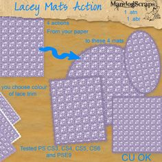 Daisies & Dimples Action - Lacey Mats [Mandogscraps] - There are 4 actions in this set making 4 large laced edge mats from your own 12x12 paperCircleOvalSquareRectangleYou will have the option to choose the colour of your lace to suit your paperTested in PS CS3, CS4, CS5, CS6 and PSE9Commercial use OK no credit required.. but always appreciated