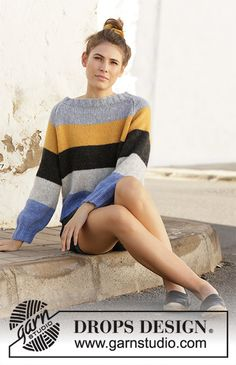 Valencia - Knitted sweater with raglan and stripes. Piece is worked in DROPS Air, top down. Size: S - XXXL - Free pattern by DROPS Design Sweater Knitting Patterns, Crochet Cardigan, Knit Patterns, Free Knitting, Knit Crochet, Drops Design, Solange, Yarn Brands, Pulls