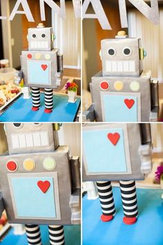 Robot Themed Surprise Baby Shower - Decoration For Home Kids Crafts, Projects For Kids, Valentine Day Boxes, Valentines For Boys, Robot Baby Showers, Maker Fun Factory Vbs, Recycled Robot, Robot Theme, Diy Robot