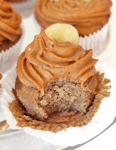 Banana Bread Quinoa Cupcakes with Peanut Butter Frosting