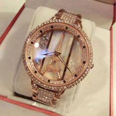 Luxury Ladies gold Diamond-studded Eiffel Tower Watch