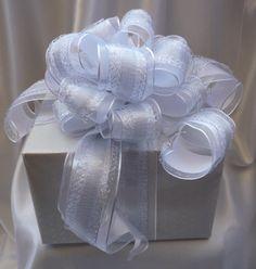 Silver Mesh Wedding Bow Celebrate Print White by BasketsFromAtoZ Wedding Chair Bows, Wedding Pews, Bow Wedding, Wedding Chairs, Wedding Table, Wedding Gifts, Pew Bows, Ribbon Bows, Bow Making