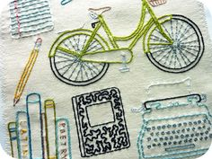 Off to College Embroidery Pattern, detail