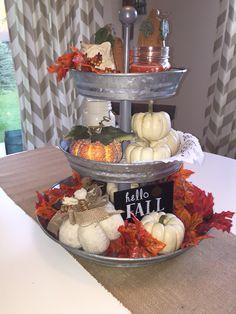 Harvest three tiered tray, fall decor. #potterybarn #fall