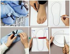 Easy Sewing Slipper for Home. Sewing Slippers, Felted Slippers, Make Your Own Shoes, How To Make Shoes, Sewing Pants, Sewing Clothes, Old Sweater, Shoe Pattern, Pdf Sewing Patterns