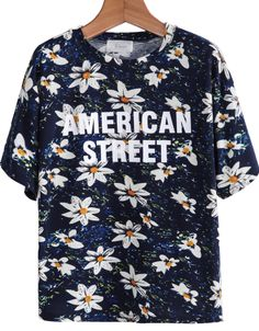 Blue Short Sleeve Floral Letters Print T-Shirt US$17.09