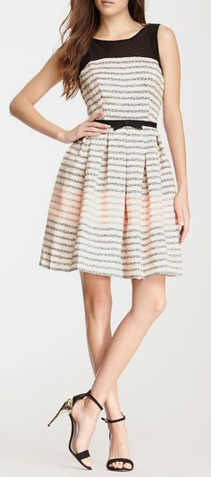 Mesh Yoke Dot Stripe Dress