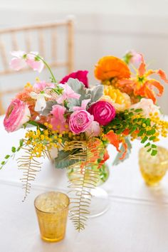 Pink, Yellow + Orange Florals | Colorful Charleston Garden Wedding at the Gadsden House by Charleston wedding photographer Dana Cubbage