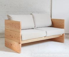 Your sofa is probably one of the most expensive pieces of furniture you own. This wood framed sofa is simple and durable with a timeless style. It can be built around almost any sofa cushions you might have or even a single mattress if you want it to double as a daybed. I salvaged some cushions from an IKEA sofa whose frame had broken. Pile pillows along the sturdy, solid-wood sides and back makes this a perfect daybed for a couple to lounge on.