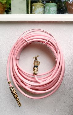 pink and leopard print garden hose from Garden Glory Raised Planter Beds, Raised Beds, Outdoor Greenhouse, My Secret Garden, Garden Hose, Garden Ideas, Planters, Middle, Gardens
