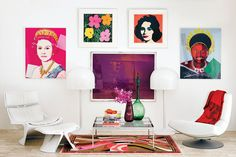 Original Andy Warhol lithographs and a Pucci rug keep company with Ostergaard chairs.