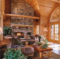 log home, family room, fireplace