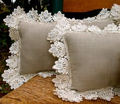 Vintage Lace and Linen Pillows in Taupe and Cream