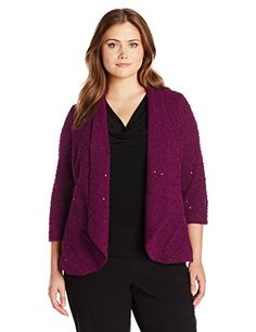 Women's Casual Jackets - Alfred Dunner Womens Plus Size Boucle Jacket with Sequins ** Click image to review more details.