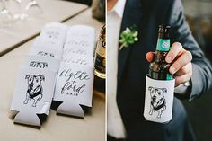 Koozies for wedding favor - Brides: Modern Meets Romantic at This Couple's Dreamy Industrial Wedding in Atlanta Wedding Koozies, Wedding Favors Cheap, Wedding Gifts, Wedding Bells, Dog Wedding, Fall Wedding, Wedding Couples, Romantic Weddings, Real Weddings
