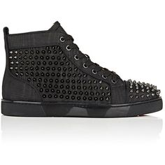 Christian Louboutin Men's Louis Orlato Flat Leather Sneakers (4.225 BRL) ❤ liked on Polyvore featuring men's fashion, men's shoes, men's sneakers, shoes, sneakers, dad shoes, black, mens high top shoes, mens leather sneakers and mens black high tops