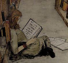 Reanding in library / Lectura en la biblioteca (ilustración de Peter Käuflin)    Via: prettybooks